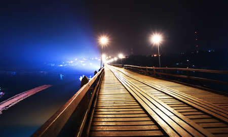 wooden bridge at night,Sangklaburi,Kanchanaburi province, Thailand