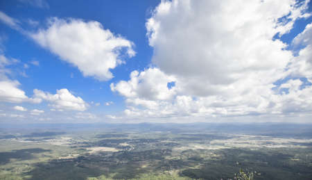 landcape and cloudy blue sky, top of view,copy space