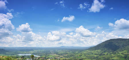 Mountain landscape panorama view and bright blue sky., blue sky background with cloudy sky
