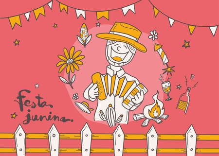 Cartoon for Festa Junina village festival in Latin., doodle style, Festival style decoration.
