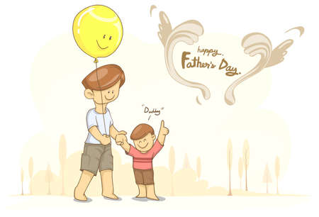 Vector father with balloon and son for Fathers Day.,flat cartoon
