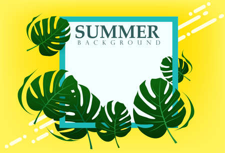 A border frame design decorated with palm leaves and copy space, Vector illustration Çizim