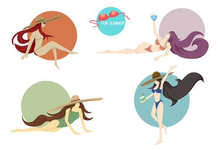 set of vector sexy girl in bikini swimsuit. set of poses and emotions, character for summer