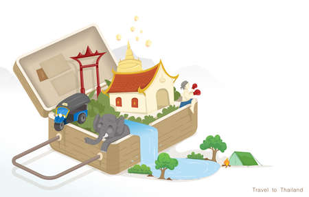 A vector illustration traveling with luggage to Thailand, culture of Thailand.