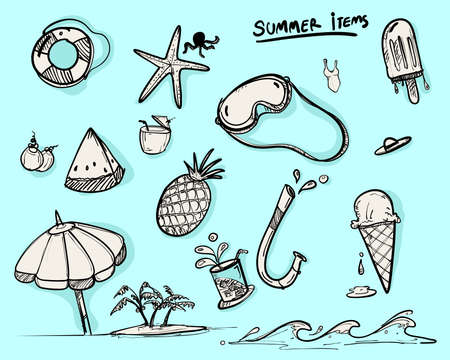 doodle items for summer, set of vector for summer symbol, doodle style