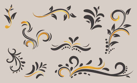 hand drawn Curl Ornament Decoration Vector.,vintage floral motifs for design isolated with gold colour. frame, or any decoration you want. Easy to use or change colour.