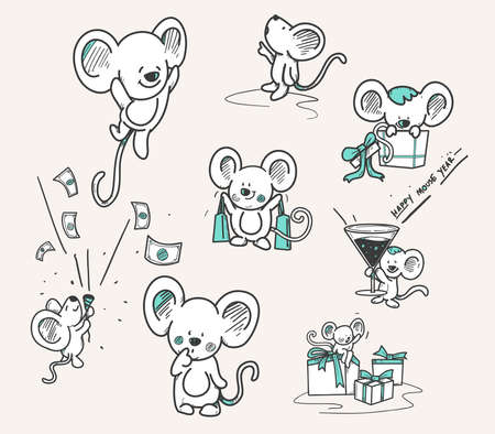 hand drawn set of mouse for new year, doodle mouse, cute mouse cartoon collection.