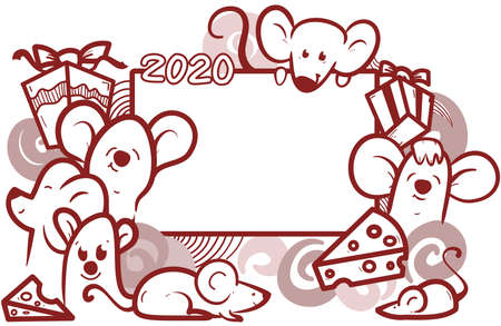 doodle mouse frame for 2020, hand drawn set of mouse for new year, cute mouse cartoon collection.