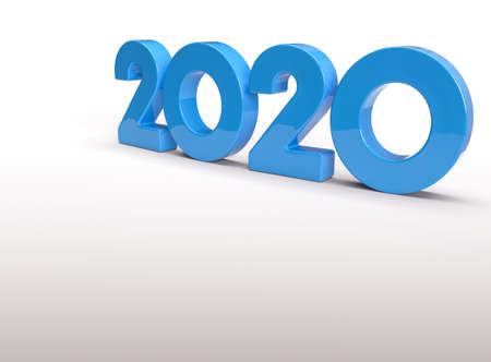2020 new year 3d blue metallic,Blue number 2020 for Happy New Year., 2020 on White Background 3D Illustration., copy space Stok Fotoğraf