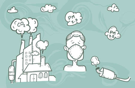 Illustration man wearing mask against smog.,air pollution, industrial smog protection concept flat style design vector illustration.,hand drawn style vector doodle design illustrations. Çizim