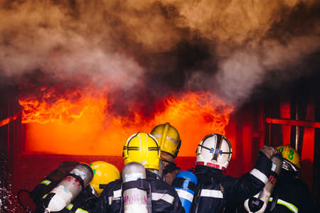 Firefighters fighting fire, Firefighters training