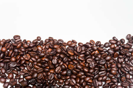 Coffee beans isolated on white background, top view Stock Photo