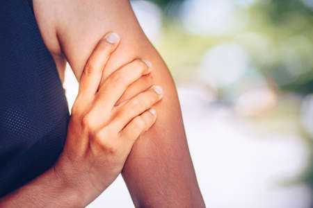 Arm pain and injury. Health care and medical concept. Stock Photo