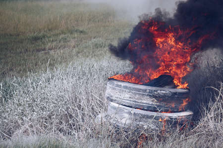 tire burning with fire