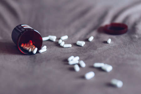 pill on bed , Health Care Concept