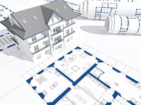 White House blueprints plans and construction of future home with roof