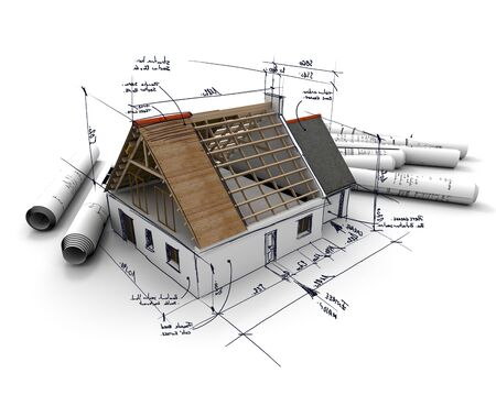 Drawing a 3D home designing a home roof home