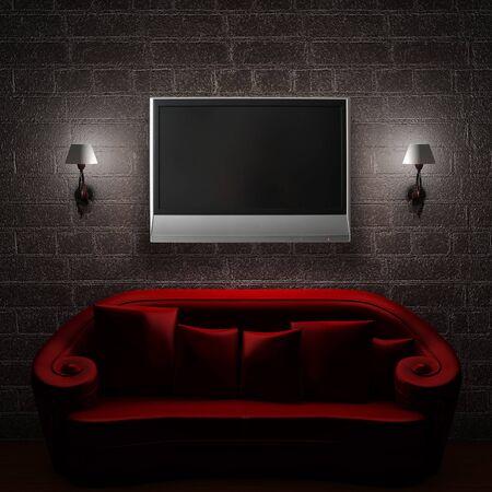 Modeling room red sofa TV design of the living room