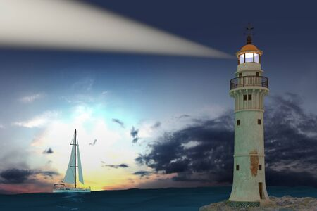 Lighthouse boat with sail sunset sea beautiful sky Stock fotó