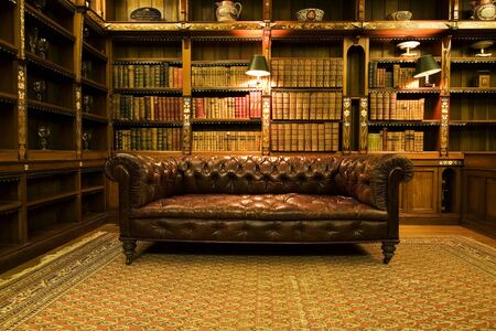 Library leather sofa book design room old library Stockfoto
