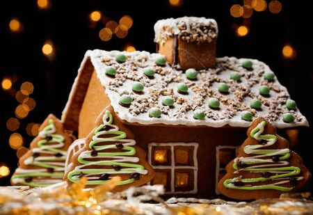 Gingerbread House edible house gingerbread cookies Christmas candy.