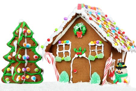 Gingerbread House gingerbread cookies Christmas candy figurines of gingerbread sweetness. Archivio Fotografico