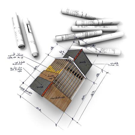 Modelado del techo de un edificio de viviendas dibujando el diseño de la vista de la casa desde arriba.