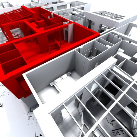 House top red room layout planning layout Stock Photo