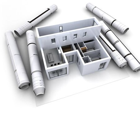 House designing layout view of top room with furniture repair construction Stock Photo