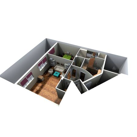 Modeling a color view from above apartment designing a room with furniture