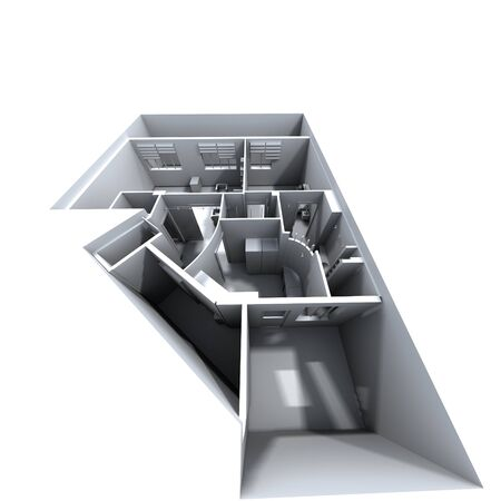 3D house simulation view from top apartment designing house rooms with furniture visualization