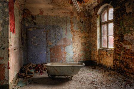 Abandoned room old building dilapidated bath walls Stok Fotoğraf