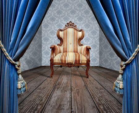 Room blue curtain wooden floor vintage chair 写真素材 - 130138711