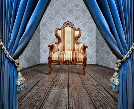 Room blue curtain wooden floor vintage chair 스톡 콘텐츠