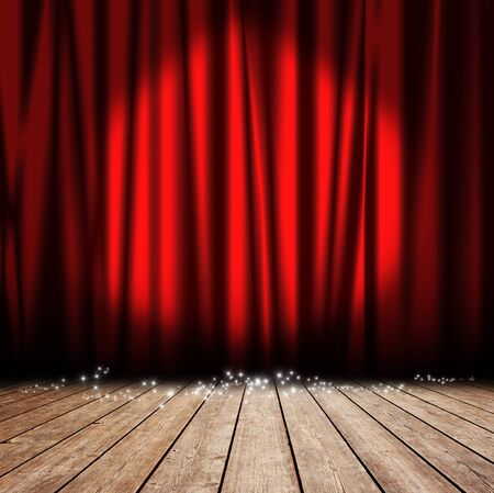 Scene wooden floor red curtain red light curtains