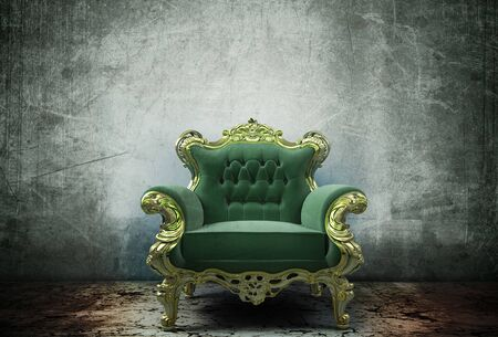 Armchair vintage green upholstery room antiques