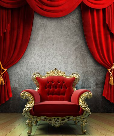 Armchair vintage red curtains studio red curtain background