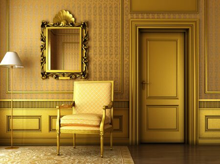 Room design vintage style chair mirror