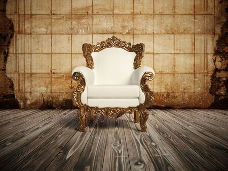 Armchair vintage vintage white luxury wooden floor wall old tile