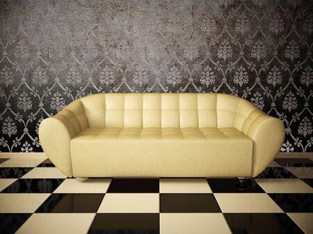 Sofa white modern style interior design room tile