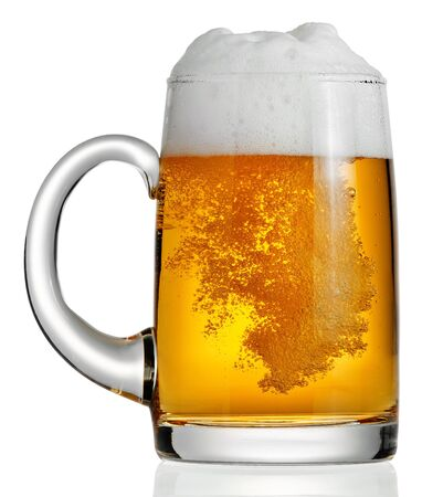 Mug glass beer bubbles foam on a white background Imagens