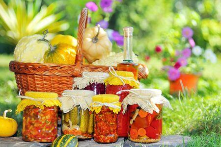 bottle of butter preservation jars pickled vegetables and fruits