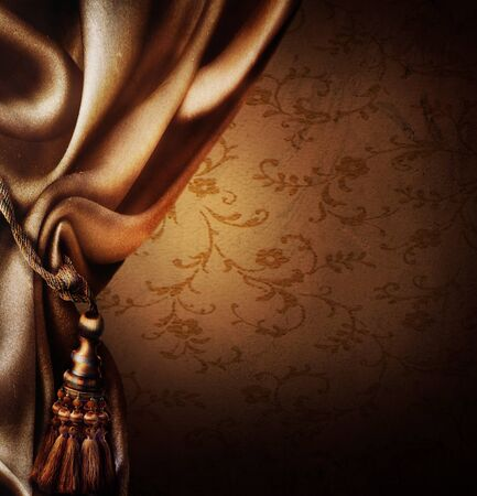 Satin gold curtain on a beautiful background