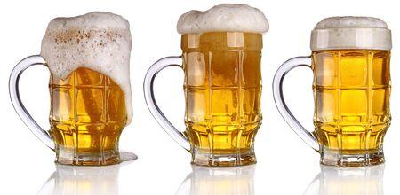 Mug glass beer foam on a yellow background