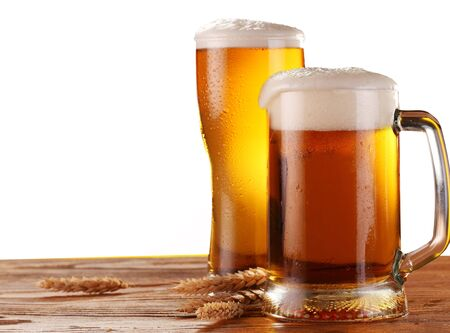 Mug glass glass beer foam spikes wheat white background