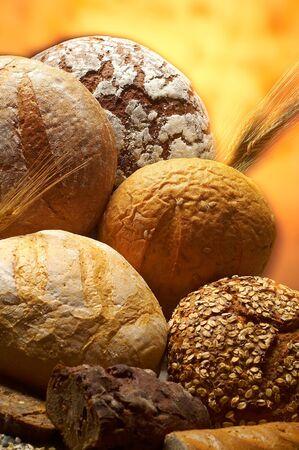 Baking bunbagels bagels puffs on an orange background