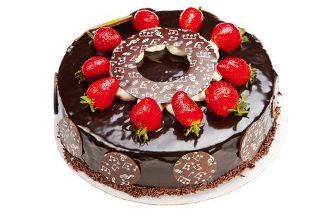 Cake biscuit baking chocolate strawberry cream cream white background