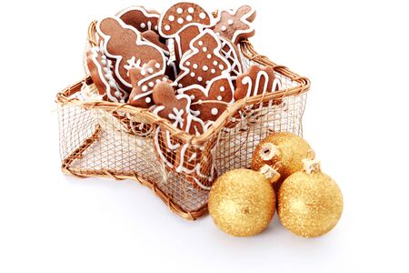 Cookies glaze pastry gingerbread Christmas bow basket white background