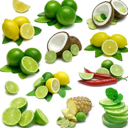 Lemon lime citrus coconut, pineapple fruit and mint white background 版權商用圖片