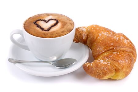 Coffee cappuccino cup foam croissant breakfast bun